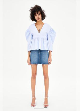 Эластичная джинсовая мини-юбка zara