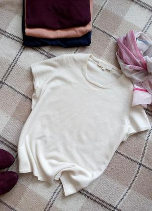 Элегантный кашемировый свитер с коротким рукавом кремового цвета100%кашемир