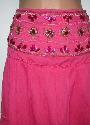 Юбка с камнями и украшениями, frangi tie rack, в поясе 39-49 см, как новая!
