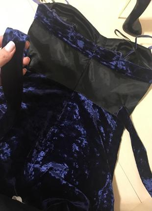 Платье бархатное комбинированое