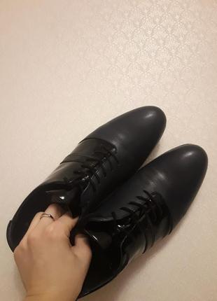 Мужские кожаные туфли темно синего цвета