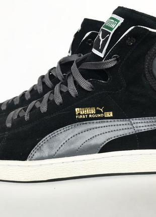 Мужские высокие кроссовки, кеды puma first round ex original черные,  замшевые 67558bf9f08