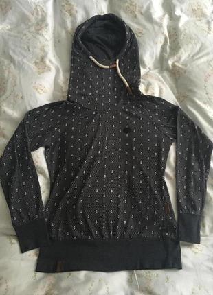 Модная кенгурушка свитшот худи - с большим и эффектным капюшоном - бренд naketano