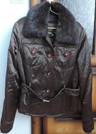 Куртка деми утепленная шоколад с натуральным мехом