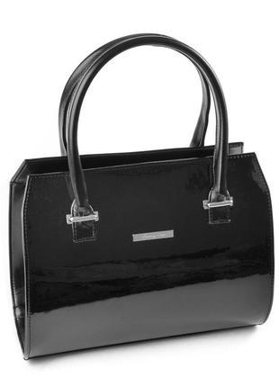 Черная лаковая деловая каркасная сумка саквояж с ручками