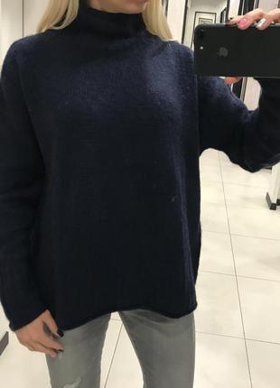 Теплый вязаный свитер amisu. синий шерстяной свитер. оверсайз. с, м, л
