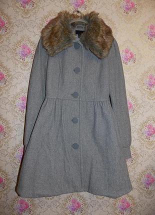 Милое шерстяное пальто с мех воротником (отстёгивается) h&m