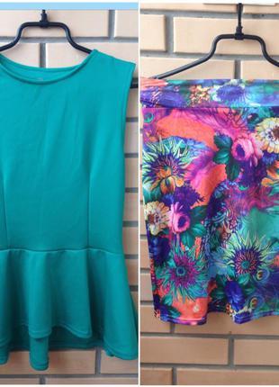 Костюм блуза с баской и юбка