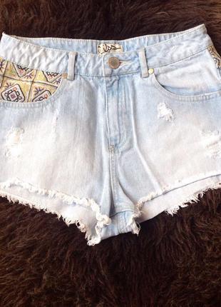 Шорты джинсовые голубые рваные miss selfridge оригинал короткие лето
