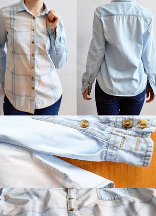 Стильная голубая джинсовая рубашка с длинным рукавом new look размер s/42 хлопок