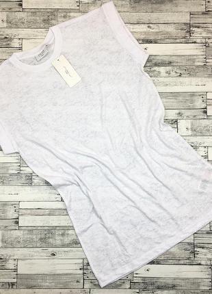 Трикотажная удлиненная футболка белая , туника, топ