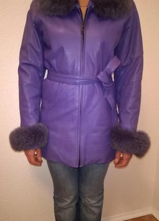 Кожаная куртка пальто с мехом песца срочно скидка 50%