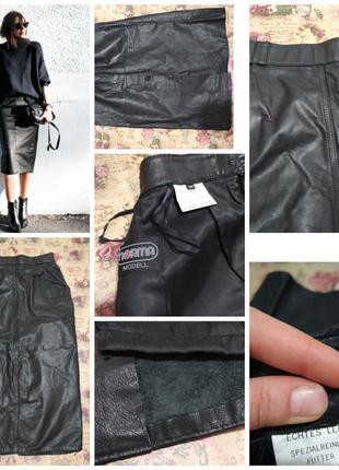 Фирменная, натуральная, кожаная юбка миди, 100% кожа