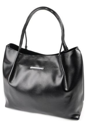 Черная женская глянцевая сумка шоппер с ручками на плечо вместительная мягкая