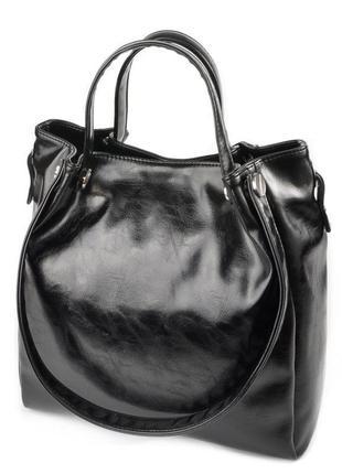 Женская сумка шоппер черная глянцевая с комбинированными мягкими ручками