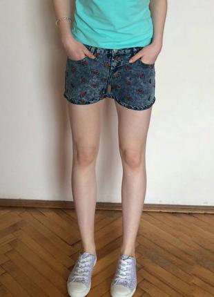 Стильные джинсовые шорты с арбузами, шорти джинсові