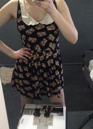 Платье в принт с лисой h&m