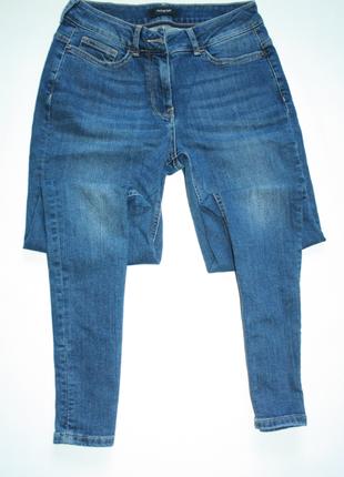 Джинсы с высокой посадкой скинни, зауженные, узкачи синие marks & spencer  (к018)