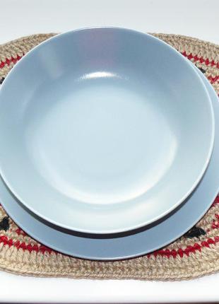 Эко-подставка под тарелки из джута овальная ручная работа