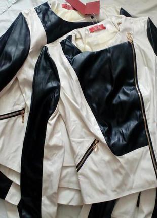 Новая черно белая косуха эко кожа с подкладкой с золотой фурнитурой куртка короткая