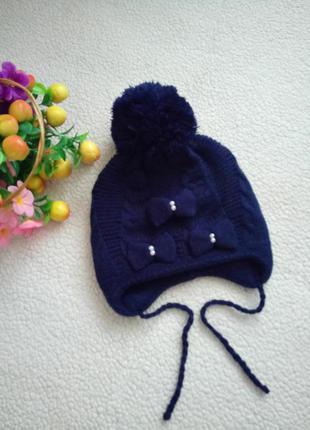 Новая шапка для девочки на обьём головы до 56 см