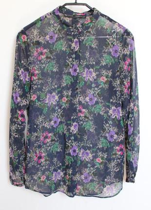 Zara шифоновая блуза в цветы