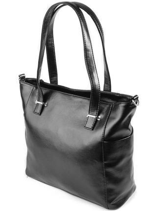 Черная глянцевая сумка шоппер с длинными ручками на плечо
