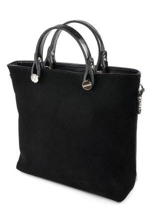 Черная замшевая деловая сумка с ремешком через плечо