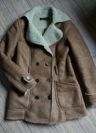 Пальто дубленка бойфренд коричневая на овчине искусственная куртка бомпер пуховик