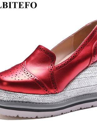 Туфли лоферы кожаные allbitefo