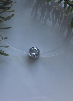 Подвес серебряный на прозрачном силиконе диамант 4057