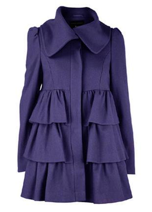 Черное фирменное пальто с воланами (рюшами) dorothy perkins