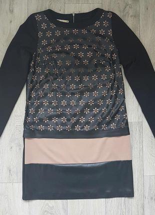 Повседневное платье с кожаными вставками