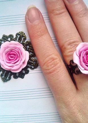 Набор кулон и кольцо розовая роза много украшений у меня на странице!