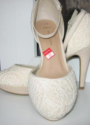 Туфли босоножки свадебные wide fit