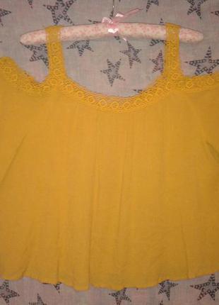 Блузочка с открытыми плечами горчичного цвета 12 размера