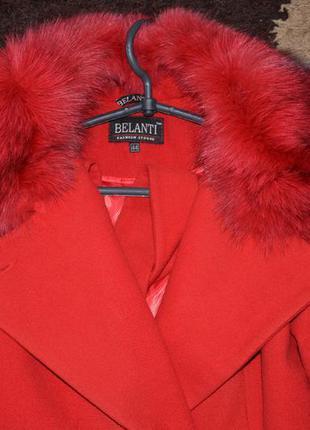 Идеальное красное пальто с натуральным мехом