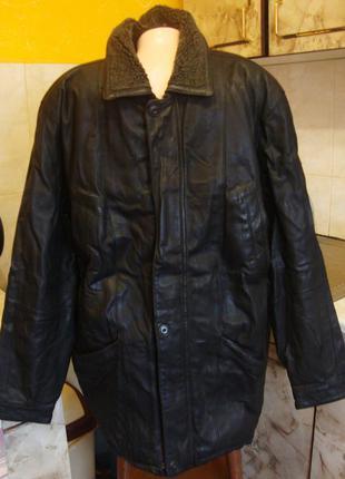 Куртка черная кожаная на меху canda размер 52 размер м/l