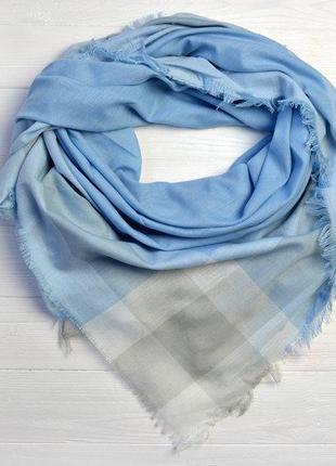 Новинка платок шарф шаль весна-лето в клетку голубой хлопок
