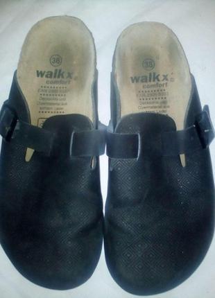 Мужские кожаные шлепанцы сланцы клоги walkx ортопеды 38размер