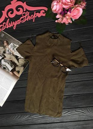 Топ майка футболка блузка хаки милитари оливковый в рубчик
