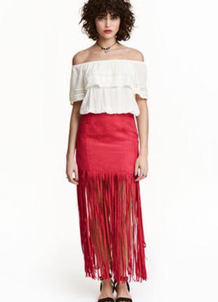 Супермодная крутая юбка с бахромой zara h&m