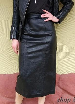 Кожаная миди юбка- карандаш 🤘. юбка с высокой талией из 100% натуральной кожи.