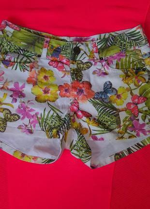 Джинсовые брендовые шорты цветочный тропический принт bella ragazza