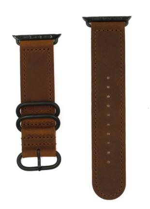 Кожаный ремешок браслет apple watch 42 mm, коричневый, braun
