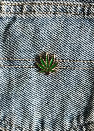 Значок марихуана, брошь конопля, брошка