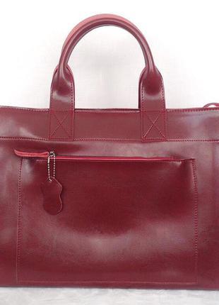 Классическая вишневая кожаная сумка шоппер zara с длинными ручками, большая сумка