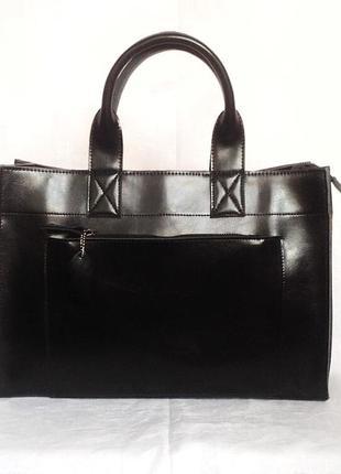 Классическая черная кожаная сумка шоппер zara с длинными ручками, большая сумка