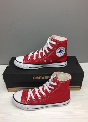 Кеды конверс красные, высокие. оригинальное качество . converse. доставка нп. унисекс