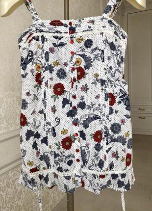 Блуза летняя/ легкая/ яркие цветы/ узор/glamorous/